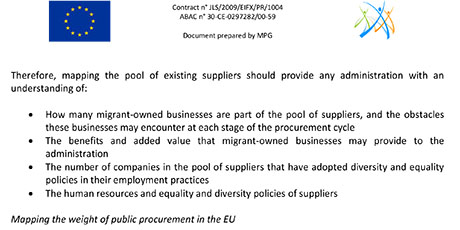 EWSI Integration Dossier 2012/01: Using public procurement as an element of diversity and equality policies